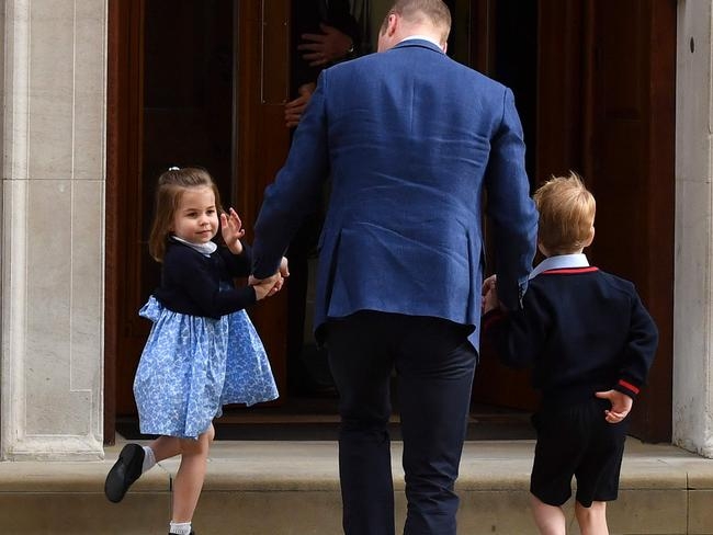 The Duke of Cambridge was taking his older children to meet their newborn baby brother. Picture: AFP