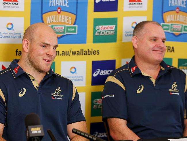 Stephen Moore and coach Ewen McKenzie speak to media during the Wallabies captaincy announcement. Picture: Getty Images