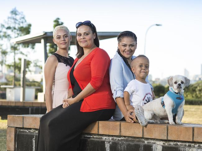 Quaden with (left to right) his sister Lala, mum Yarraka, sister Lilli and Buddy. Picture: Caters News Agency