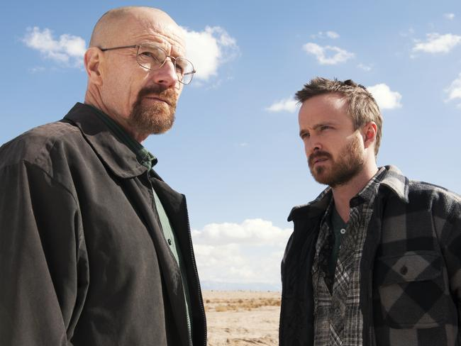 Bryan Cranston as Walter White and Aaron Paul as Jesse Pinkman in  <i>Breaking Bad</i>.