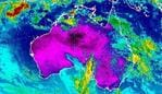 This false colour map from the Bureau of Meteorology shows the continuing heat over WA, Victoria and Tasmania.
