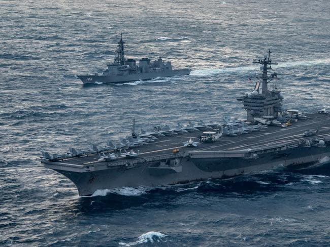 North Korea could be provoked by the presence of US aircraft carriers and strike weaponry in its seas. Picture: US Navy