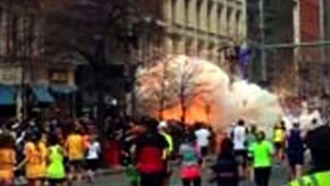 A picture posted to Twitter of an explosion at the Boston Marathon