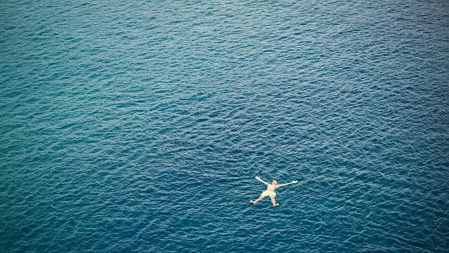 The complete freedom swimming in the blue ocean at Stradbroke Island.