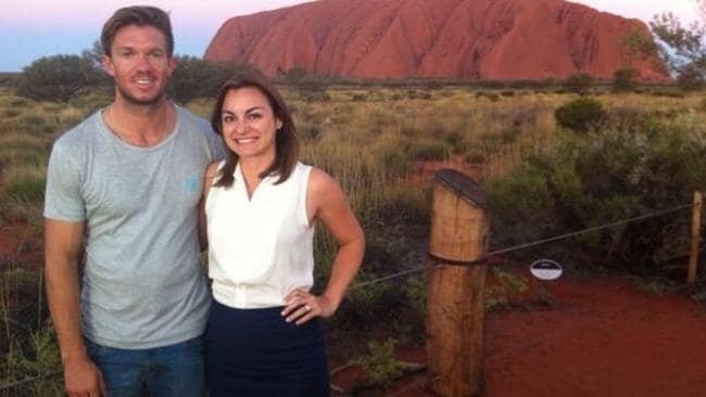 Danielle Isdale waiting for the royals in Uluru. Picture: Twitter.