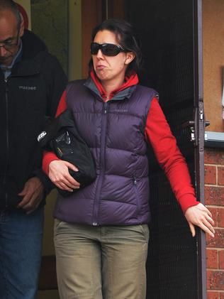 Devastated Sally Buckland leaves Mt Beauty police station. Picture: Rob Leeson