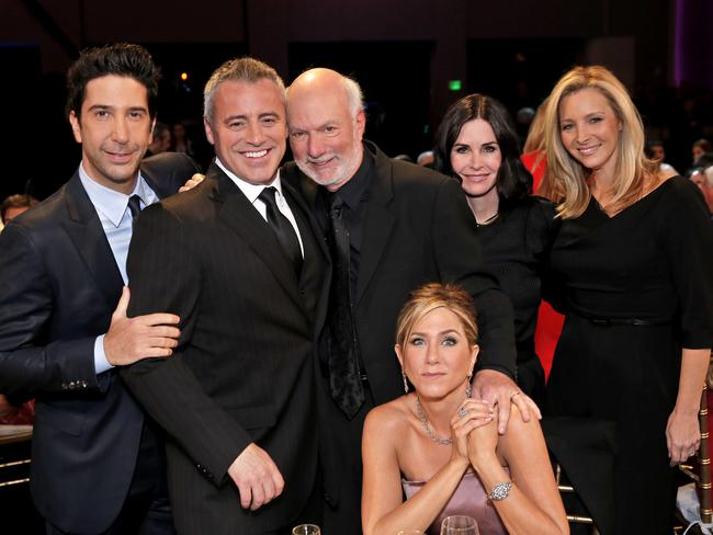Reunited ... director James Burrows with Friends cast David Schwimmer, Matt LeBlanc, Jennifer Aniston, Courteney Cox and Lisa Kudrow. Picture: Chris Haston/NBC via AP