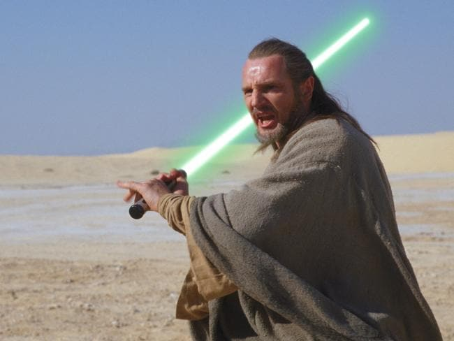 Let there be light ... Liam Neeson got his first taste of action in The Phantom Menace.