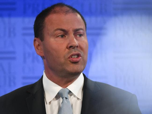 Australian Energy Minister Josh Frydenberg delivers his address to the National Press Club in Canberra earlier today. Picture: Lukas Coch/AAP