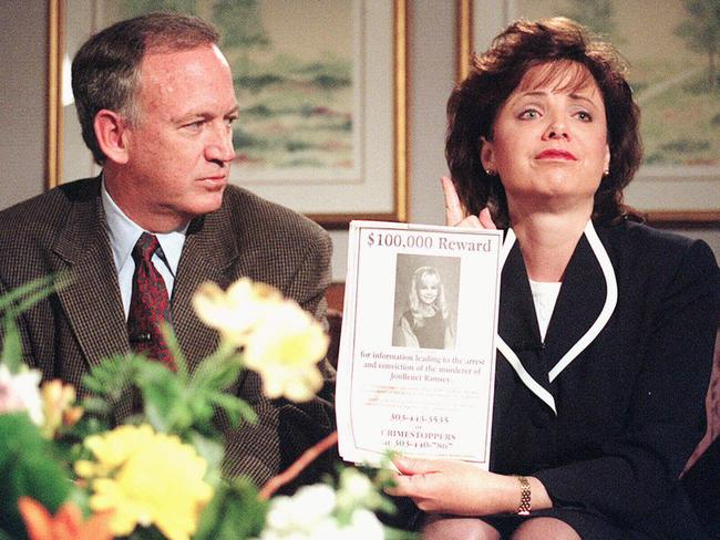 John Ramsey looks on as his wife Patsy holds an advertisement promising reward for information leading to arrest and conviction of murderer of their daughter JonBenet. Picture: Supplied