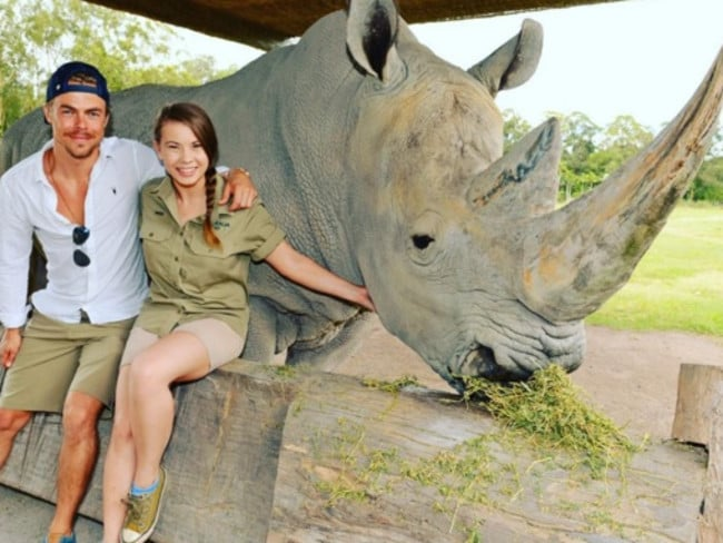 Good friends ... Bindi Irwin and Derek Hough at Australia Zoo. Picture: Supplied
