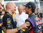 Before some congratulations from Red Bull's design guru Adrian Newey... (Photo by Mathias Kniepeiss/Getty Images)