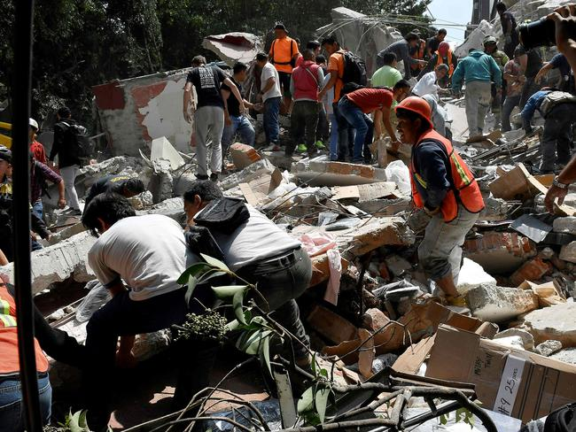 The powerful quake damaged homes and buildings in Mexico City. Picture: AFP/Omar Torres