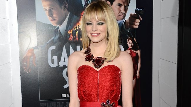 Actress Emma Stone arrives at the Gangster Squad premiere in California. Picture: Getty Images