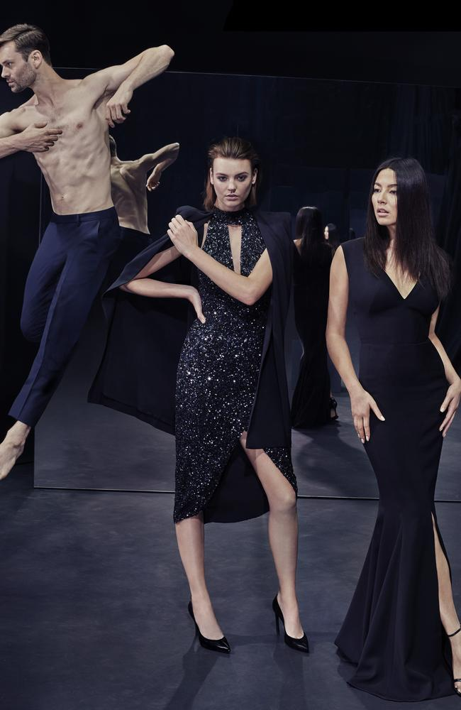 Black out ... Sydney Dance Company dancers also star in David Jones' latest autumn/winter '16 look book, featuring Montana Cox, centre, and Jessica Gomes, wearing Rachel Gilbert and Aurelio Costarella. Picture: David Jones