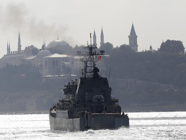 The Russian Navy's large landing ship Novocherkassk on its way to the Mediterranean Sea in Istanbul.