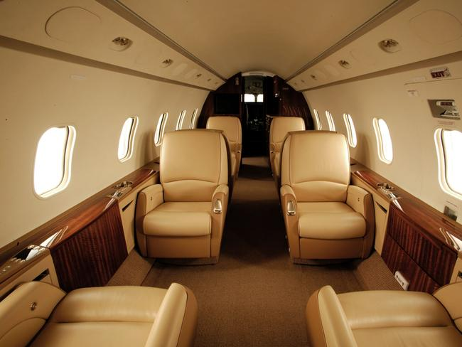 The interior of the Bombardier Challenger 300 executive jet before the incident which left crew and passengers injured.