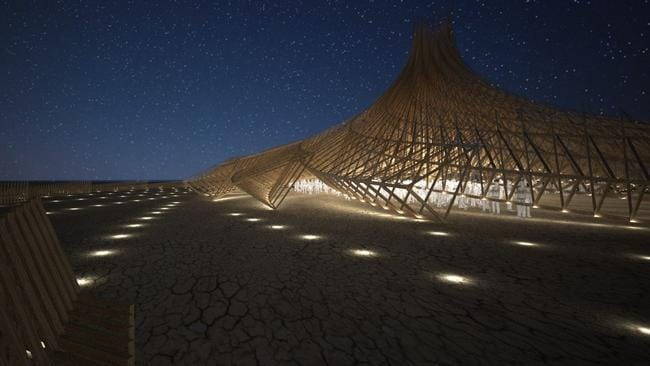 2018 Burning Man temple revealed - Galaxia designed by Arthur Mamou-Mani. Picture: Mamou-Mani Architects