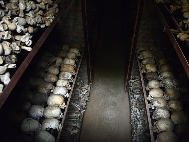 Human skulls preserved are exhibited on April at the Genocide memorial in Nyamata, inside