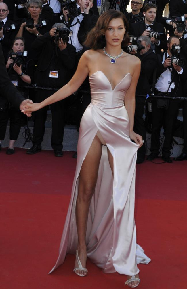 Bella Hadid flashes the flesh on the red carpet. Picture: Splash News