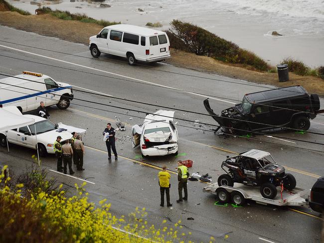 Fatal collision ... Caitlyn Jenner's Escalade rear-ended a Lexus in Malibu in February. Picture: Splash News
