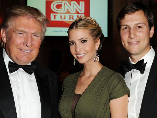 Donald Trump, Ivanka Trump and Jared Kushner in 2012. Picture: Getty
