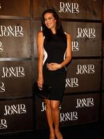 Model Megan Gale arrives at the David Jones A/W 2014 Collection Launch in January. Gale is due in May. Picture: Getty