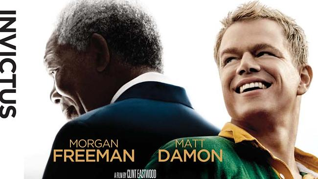 The inspiratonal Matt Damon (with a surprisingly decent South African accent) and Morgan Freeman.