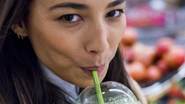 Jessica Gomes has her daily smoothie. Picture: Jason Edwards.
