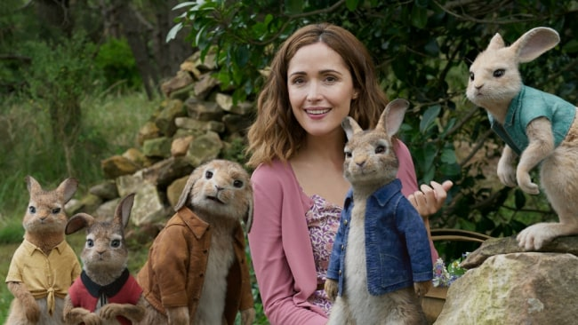 Rose Byrne with bunnies Flopsy, Mopsy, Peter, Benjamin and Cotton Tail. Photo: Sony