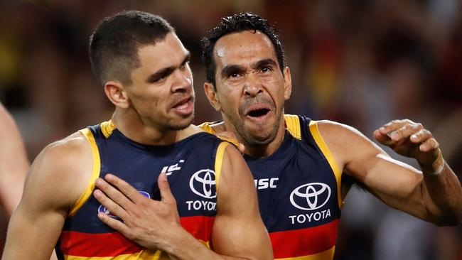Charlie Cameron with Betts after kicking one of his five goals on Friday night. Picture: Adam Trafford (Getty).