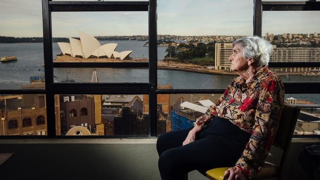 Myra Demetriou, who is legally blind, can barely make out the view from her public housing unit. The Government wants her, and everyone else, out. Picture: Jonathan Ng