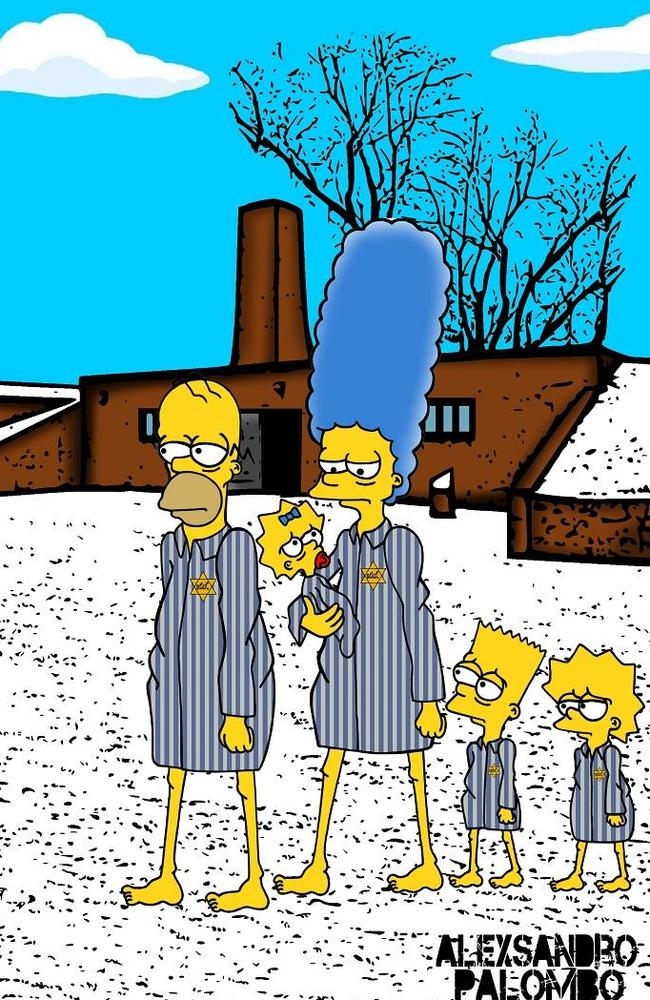 Controversial ... Palombo depicted The Simpsons as Jews in Auschwitz to mark the 70th anniversary of the liberation of the concentration camp. Picture: aleXsandro Palombo