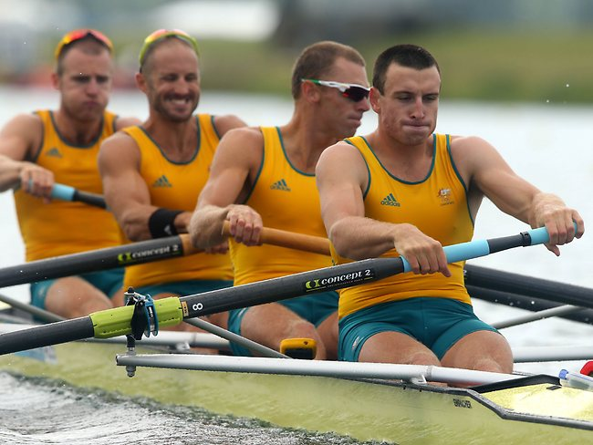 William Lockwood (far left) and James Chapman (second left) were part of the new look Oarsome Foursome.