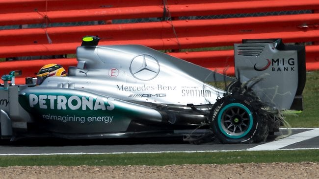 Lewis Hamilton's shredded back wheel which forced him to retire from a commanding position.