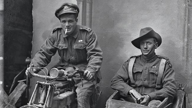 Sid Carroll, a WWI digger, seated in sidecar in a photo discovered in Vignacourt in attic of French farmhouse. Carroll was identified with the help of family members still living and working in Australia.