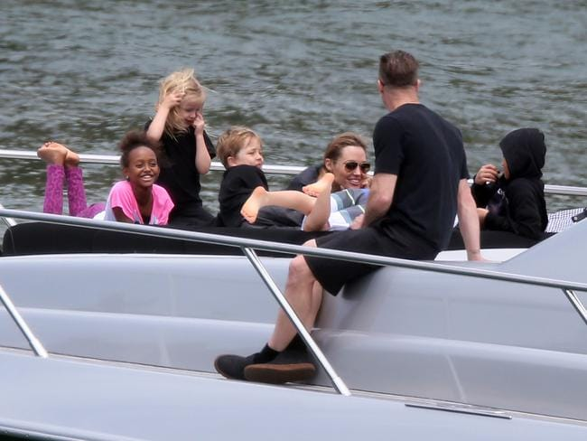 "Brad Pitt and Angelina Jolie spend the day with their children on board a luxury yacht named ""Ghost"" in Sydney Harbour, Australia on December 3, 2013. Picture: INF"
