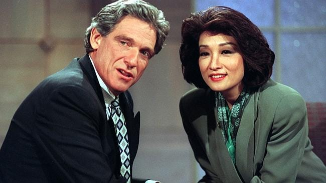 Maury Povic in 1995 with his wife, anchorwoman Connie Chung.