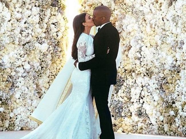 Kanye West wanted his wedding photo to look like Annie Leibovitz took it so he spent four days perfecting it himself. Picture: Instagram kimkardashian