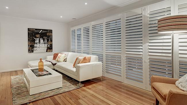 The upstairs retreat with plantation blinds.