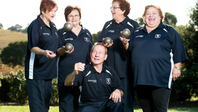 Coach Letizia Maglieri is pictured with, from left, Rosa Maglieri, Maria Valente and Vicky Vafareaai. Steve Maglieri is in the front ... ready to compete in the national championships at Mclaren Vale.