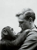 David Attenborough is seen interacting with with a chimpanzee.