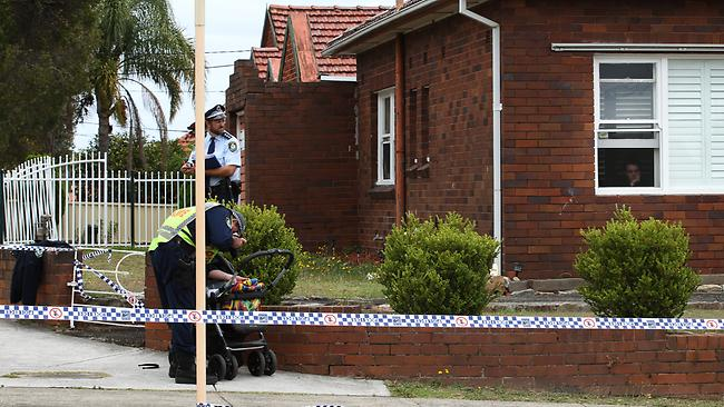 Police at the scene where a 5-year-old boy was fatally hit by a car on the corner of Kingsgrove Rd and Vivienne St in Kingsgrove. Picture: Toby Zerna