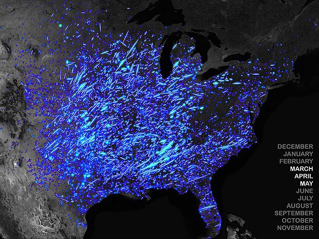 Tornado tracks: illustrates tornado tracks across the USA from 1950-2011. Graphic: John Nelson