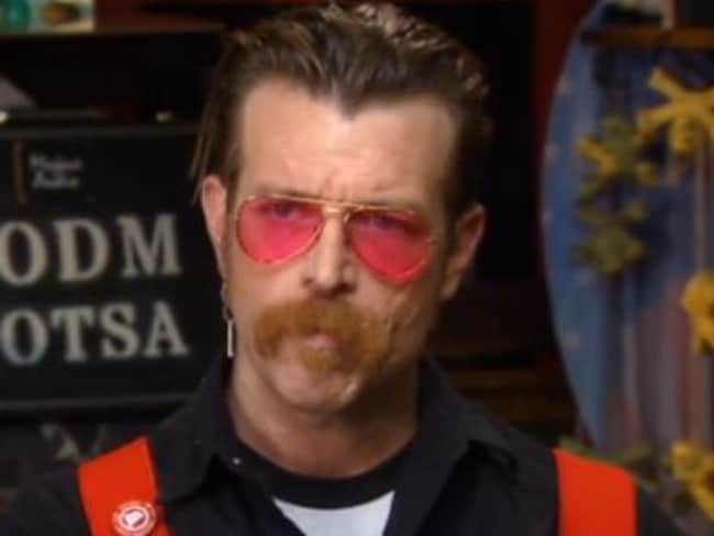 Eagles of Death Metal frontman Jesse Hughes on the Kennedy program. Picture: Fox Business Network.