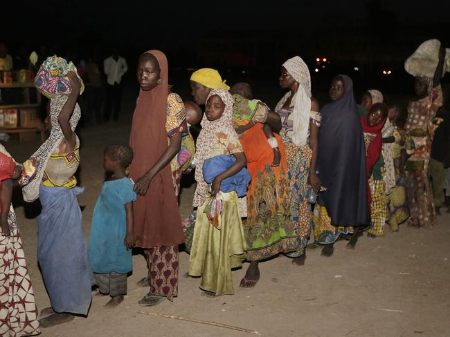 Human toll ... Women and children rescued by Nigeria soldiers from Boko Haram extremists at Sambisa forest arrive at a refugee camp in Yola on Saturday, May 2. Picture: Sunday Alamba/AP