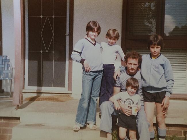 Mark Geyer as a kid outside the family's Mt Druitt home ... Jodie, Melissa, Kevin (dad), Matt and Mark Geyer.