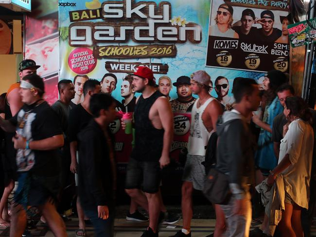 Schoolies was big in Kuta last year when thousands of young Aussies flocked to the famous party strip. Picture: Lukman S. Bintoro