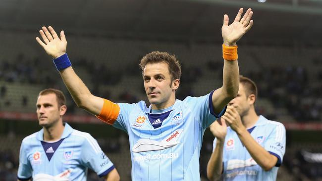 Alessandro Del Piero of Sydney waves goodbye to the crowd after his final A-League game in 2014.