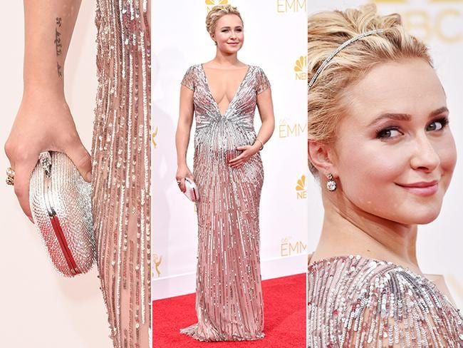 Mum-to-be Hayden Panettiere was the glittery queen of the sparkling metallic trend on the red carpet. Picture: Getty